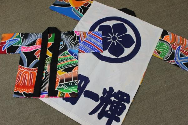 鯉のぼりの矢旗(武者のぼり)の法被巾着袋リメイク